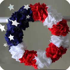 Patriotic DIY felt wreath- going to add a removable yellow ribbon for deployment