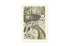 Badger & Crow Linocut Greetings Card