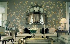 Hand Painted Silk Wallpaper | Wallpaper Portfolio ( Partial. Click on any image to see an enlarged ...