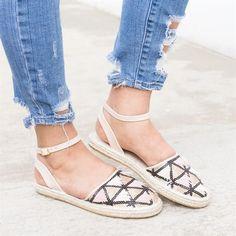 #Valentines #AdoreWe #Jane.com - #Shoetopia.com Embellished Ankle Strap Espadrille Flats - AdoreWe.com