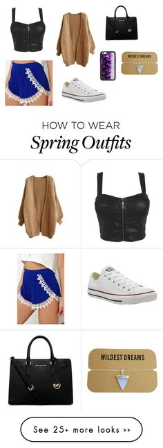 """Haven't been on in a while but oh well. This is a cute spring outfit"" by yelizisdabest on Polyvore featuring Lucy Love, Converse, MICHAEL Michael Kors and Wildflower"