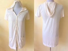 Back to School Sale: cream short sleeved long cardigan or hoodie (small to medium) by VintageHomage