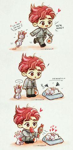 Suho and bunny Exo Chanyeol, Kyungsoo, Exo Ot12, Chanbaek, Exo Fanart, Exo Cartoon, 5 Years With Exo, Exo Anime, Exo Korean
