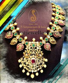 South Indian Jewellery - Heavy Mango mala with polkis in pacchi setting with pota rubies and Emaralds Indian Jewellery Design, South Indian Jewellery, Latest Jewellery, Jewellery Designs, Antique Jewellery, Indian Wedding Jewelry, Indian Jewelry, Bridal Jewelry, Gold Jewelry