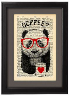 Illustration, Panda coffee break, DICTIONARY Print, art poster, mug of coffee, Book pages, Dorm decor, Gift poster, Wall decor, CODE/088