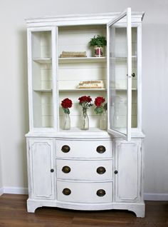 Farmhouse China Cabinet Makeover with Shiplap - Girl in the Garage® Goodwill antique china cabinet makeover with Chalk Paint and shiplap for a fresh farmhouse look – White China Cabinets, Antique China Cabinets, Painted China Cabinets, Rustic Cabinets, Painted Hutch, Goodwill Furniture, Upcycled Furniture, Rustic Furniture, Cool Furniture