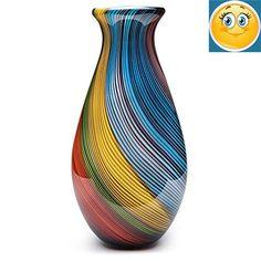 #design #Handmade One-of--kind #Glass Rainbow Twist Vase