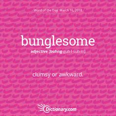 Today's Word of the Day is bunglesome.