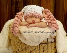 Newborn Photography . . . Baby in a Basket. I Love This Pink Pigtails Crochet Hat! Great Photo Prop!