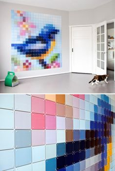 Pixelated wall art created from tiles