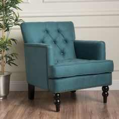 Christopher Knight Home Malone Fabric Club Chair, Dark Teal Teal Fabric, Chair Fabric, Wingback Accent Chair, Accent Chairs Under 100, Wayfair Living Room Chairs, Living Room Seating, Dark Teal, Club Chairs, Modern Chairs