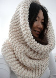 Hope XL Huge Oversized Chunky Rib Infinity Cowl Scarf, Snow Vanilla Cream