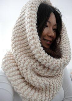 Hope Huge Oversized Chunky Rib Infinity Cowl Scarf by LuluLuvs, $70.00 cream scarf knit handmade bulky scarf