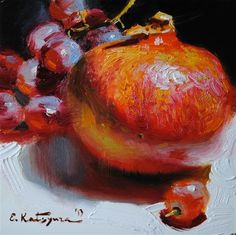 """Pomegranate and Grapes"" - Original Fine Art for Sale - © Elena Katsyura"