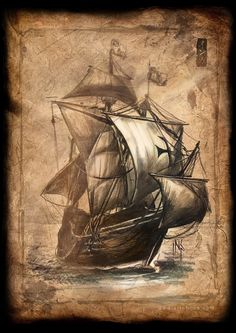 Pencil and photoshop Greatship century. (some free textures in my gallery[link]) ©Inca -Alexander Nanitchkov- *updated. Vintage Maps, Antique Maps, Old Sailing Ships, Pirate Art, Old Maps, Ship Art, Pyrography, Pirates, Fantasy Art