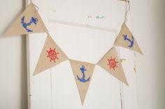 Nautical Burlap Banner-Baby Shower Banner-Nautical Bunting-Nursery Garland-Nautical Birthday Garland-First Birthday High Chair Decor