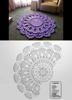 Crochet Doily Rug, Crochet Doily Diagram, Crochet Carpet, Crochet Mandala Pattern, Crochet Tablecloth, Crochet Home, Crochet Patterns Amigurumi, Crochet Flowers, Crochet Keychain Pattern
