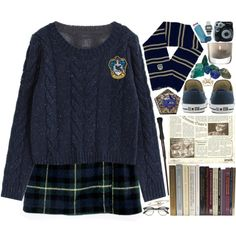 Ravenclaw by waytogojackie on Polyvore featuring polyvore, fashion, style, Converse, Casio, Pieces, LowLuv, LSA International, Polaroid and Apsara