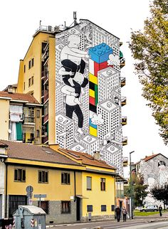 A selection of street art creations of the Italian artist Francesco Camillo Giorgino, aka Millo, who creates huge and gorgeous black and white murals, reveal Murals Street Art, Art Mural, Mural Painting, Street Art Graffiti, Urban Street Art, Best Street Art, Art Du Monde, Street Installation, Italy Street