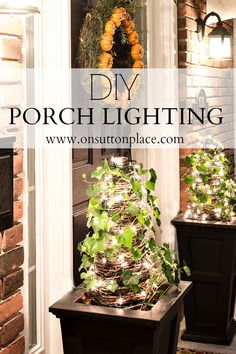 Easy DIY Porch Lighting ideas that anyone with an extension cord can do! Fall, Halloween or Christmas light idea.