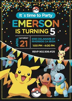 "Pokemon Birthday Invitation for girl and boy, as you can see in the pictures. Size of Invitation is 5 x 7 inches (4 x 6 inches upon request). Pokemon Party Invitation digital file have Resolution 300 dpi.   ▬▬▬▬▬▬▬▬▬▬▬▬▬▬▬▬▬▬▬▬▬▬▬▬▬▬▬▬▬▬▬▬▬▬▬ ------------------------- ▼▼▼ FREE with your order ▼▼▼ ------------------------ ▬▬▬▬▬▬▬▬▬▬▬▬▬▬▬▬▬▬▬▬▬▬▬▬▬▬▬▬▬▬▬▬▬▬▬  ► Back side ► Thank you card (4x6"")   ▬▬▬▬▬▬▬▬▬▬▬▬▬▬▬▬▬▬▬▬▬▬▬▬▬▬▬▬▬▬▬▬▬▬▬ --------------------------- ▼▼▼ HOW TO ORDER ▼▼▼…"