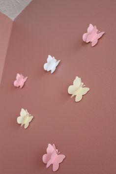 Girl Room Decor: 20 Purple Glitter Paper Butterflies for  Girl's Room. $14.95, via Etsy.