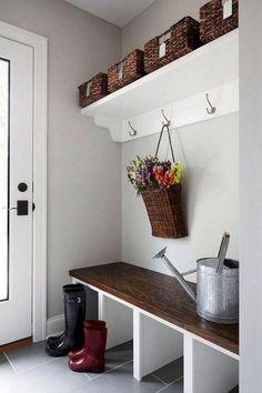 50 Stunning Farmhouse Mudroom Decor Ideas And Remodel - Googodecor - Small Entryway Bench, Foyer Bench, Entryway Decor, Bench Designs, Entrance Design, Living Room Lighting, Mudroom, Kitchen Decor, Easy Diy