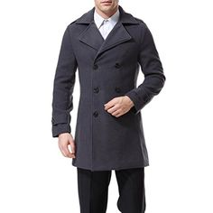 Keaac Mens Double Breasted Color Wool Trench Jackets Peacoat Coats