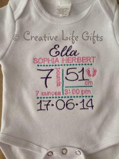 Birth Announcement Bodysuit/Shirt by CreativeLifeGifts on Etsy