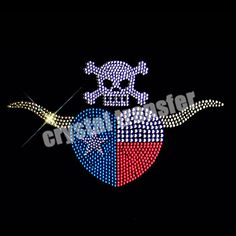 Skull Heart Custom Heat Rhinestone Transfers Design Embellishment