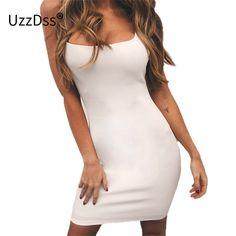 UZZDSS Spaghetti Strap Backless Sexy Dress 2018 Mini Simple Bodycon Dress  Women Hot Club Slim Fit Short Party Dress Vestidos Price  16.51   FREE  Shipping   ... 68b41ef9cc77