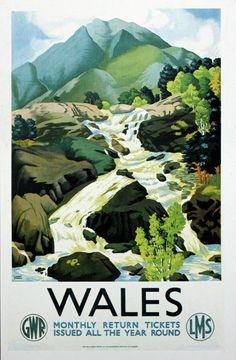 Vintage Advertising Posters, Vintage Travel Posters, Vintage Advertisements, English Posters, British Travel, Railway Posters, Illustrations And Posters, Landscape, Welsh Marches