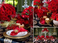 """Stick With Tradition If you're a traditional type, top your table with an opulent collection of accessories in the season's time-honored colors. """"Although holiday styles are now incorporating a variety of color palettes, dont be afraid to stick with the traditional and time-honored colors li"""