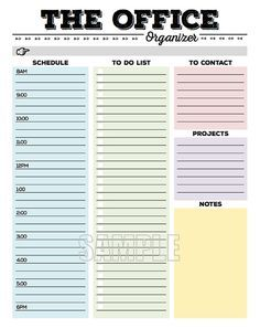 This Office Organizer printable is designed to help you to stay organized at-a-glance when youre at work! Just fill in the gray section (where the pointing hand is) with the date, a motivational quote, or whatever else you want. Then fill in the different sections: - Schedule - To Dos - To Contact - Projects - Notes In addition to having a fun, simple, and modern design, I tried to make sure that this organizing worksheet is: 1. User friendly 2. Printable AND *editable 3. Has plen...