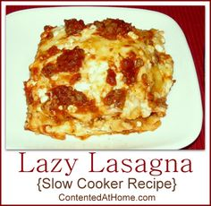 Lazy Lasagna {Slow Cooker Recipe} this recipe uses uncooked noodles, which I'll also do and then use my regular lasagna ingredients including ricotta cheese and see how it works out. The layering is the same. It cooks on HIGH for 1hr, then additional 3-5 hrs on low, or until noodles are soft.  Wish me luck