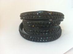 Black Crystals on Black Leather Wrap Snap Bracelet