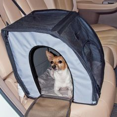 Features:  -Folds flat for easy travel.  -Secures safely with any seatbelt.  -Keeps pets from distracting you while driving.  -Durable mesh sides for viewing.  -Multiple exits.  Color: -Blue, Black. D