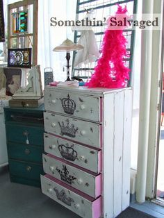 Somethin' Salvaged upcycled dresser painted with crowns