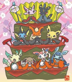 The majestic rulers of the new Era, named Sun and Moon, call together their close empirical family, to come and gather beneath the Solstice of Ages. Pokemon Pins, Pokemon Images, Pokemon Pictures, Pokemon Eeveelutions, Eevee Evolutions, Digimon, Anime Manga, Cute Pictures, Chibi