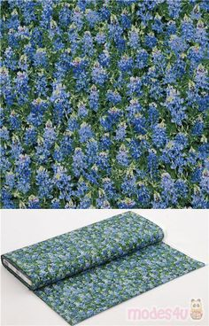 """cotton fabric with all over blue florals and green leaves foilage, Material: 100% cotton, Fabric Type: smooth cotton fabric, Pattern Repeat: ca. 30cm (12"""") #Cotton #Flower #Leaf #Plants #USAFabrics"""
