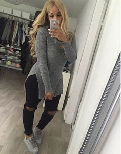 I think this sweater is pullover can make your body more attractive.This is a solid color sweater, you will wear very sexy. Size:S, M, L ,XL Color:G Sweater Outfits, Casual Outfits, Cute Outfits, Fashion Outfits, Girl Fashion, Kendall Jenner Outfits, Fall Winter Outfits, Winter Fashion, Pullover Outfit