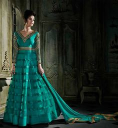 GOWN WITH LEHENGA CHOLI DUAL DRESS FOR WEDDINGS GREEN WEDDING GOWN WITH BEIGE LONG KURTI, WHEN BOTH WORN TOGETHER GIVES LOOK OF LEHENGA CHOLI