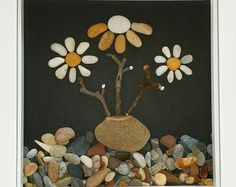 Ladybugs & Flowers driftwood art stone art by BeachMemoriesByJools