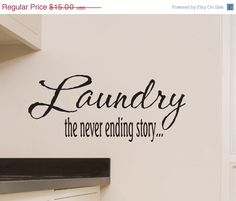 ON SALE Laundry The Never Ending Story Wall Decal for Laundry Room Decor. $12.00, via Etsy.
