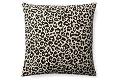 Leopard 18x18 Pillow, Black/Cream