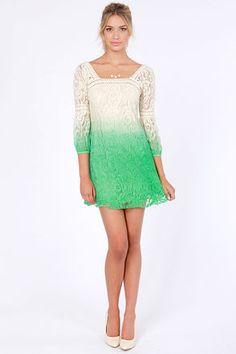 Cool Cream Dress - Green Dress - Ombre Dress - Lace Dress - $72.00