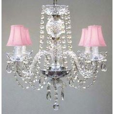 """Swarovski Crystal Trimmed Chandelier All Crystal Chandelier With Pink Shades H17"""" X W17"""" Swag Plug In-Chandelier W/ 14' Feet Of Hanging Chain And Wire - A46-B15/Pinkshades/275/4 Sw"""