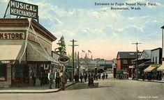 size: Art Print: Bremerton, Washington - Entrance View to US Navy Ship Yard by Lantern Press : Bremerton Washington, Snoqualmie Falls, Us Navy Ships, Vash, Yard Art, Vintage Postcards, Entrance, Street View, Art Prints