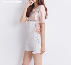 Outfits with shorts, short outfits, cute shorts, white overalls, overalls o Korean Fashion Pastel, Korean Fashion Shorts, Korean Fashion Kpop, Korean Fashion Summer, Korean Fashion Trends, Fall Fashion Outfits, Korean Outfits, Korean Clothes, Women's Fashion