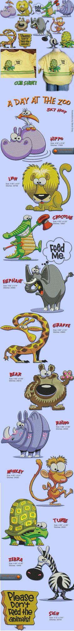 ANIMAL,ZOO,ELEPHANT,MONKEY,LION,RHINO,HIPPO,ZEBRA,TURTLE, Embroidery Designs Free Embroidery Design Patterns Applique